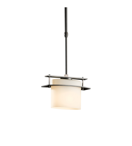 Hubbardton Forge 188200-Flu-Long-03-Gg0182 1 Light Arc Ellipse Mini Pendant Opal Glass In Mahogany