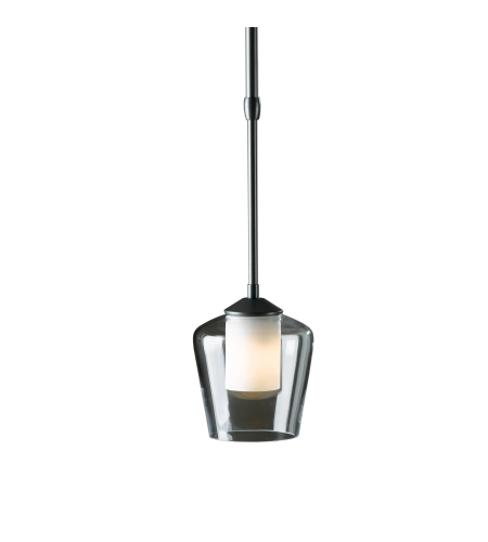 Hubbardton Forge 188600-Skt-Long-03-Zu0291 1 Light Simple Mini Pendant Opal And Clear Glass In Mahogany