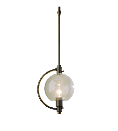 Hubbardton Forge 188700-Skt-Long-03-Gg0436 1 Light Pluto Mini Pendant Opal Glass In Mahogany