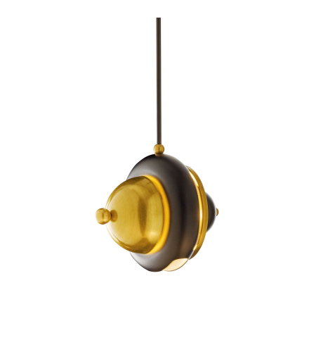 Hubbardton Forge 188850-Skt-Long-31 1 Light Bob Mini Pendant In Brass W/ Black