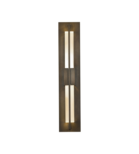 Hubbardton Forge 306415-Led-03-Zm0331 Light Double Axis Small Led Outdoor Sconce Clear Glass In Mahogany