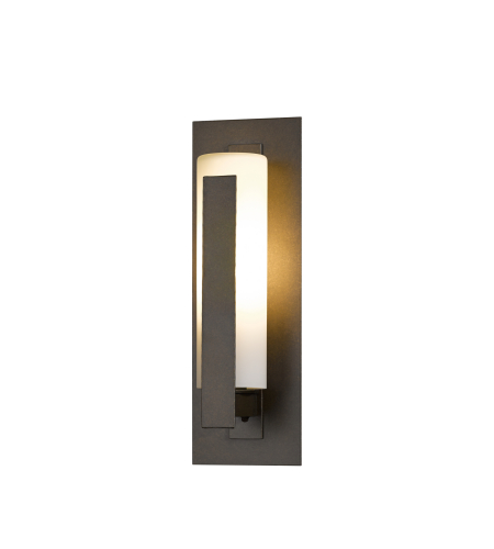 Hubbardton Forge 307285-Led-03-Gg0066 Light Forged Vertical Bars Small Outdoor Sconce Opal Glass In Mahogany