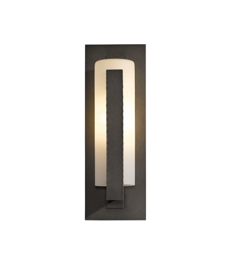 Hubbardton Forge 307286-Led-03-Gg0034 Light Forged Vertical Bars Outdoor Sconce Opal Glass In Mahogany