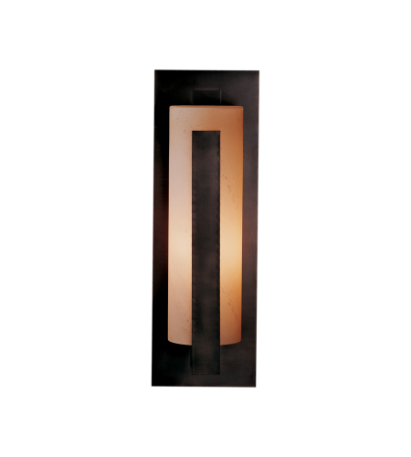 Hubbardton Forge 307287-Led-03-Gg0037 Light Forged Vertical Bars Large Outdoor Sconce Opal Glass In Mahogany