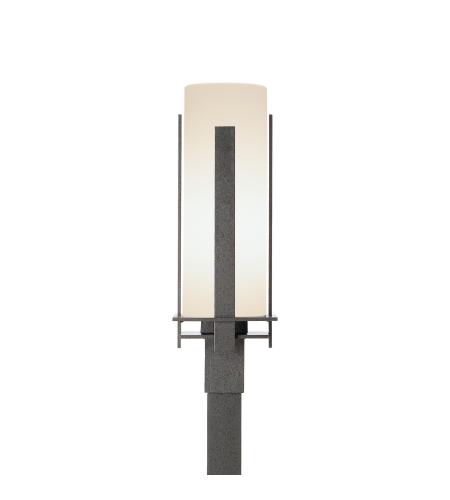 Hubbardton Forge 347288-Led-03-Gg0040 Light Forged Vertical Bars Outdoor Post Light Opal Glass In Mahogany
