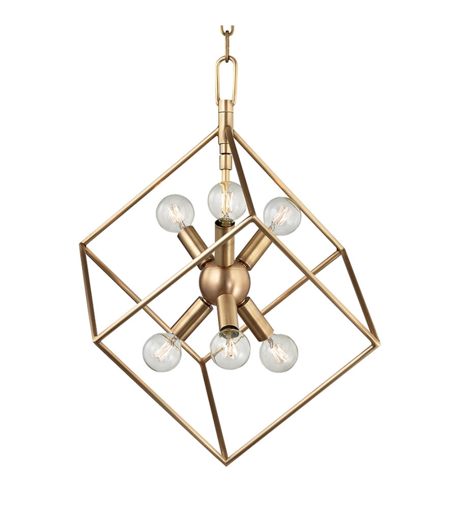 Hudson Valley Lighting Bulbs: Hudson Valley 1215-Agb Roundout 6 Light Pendant In Aged