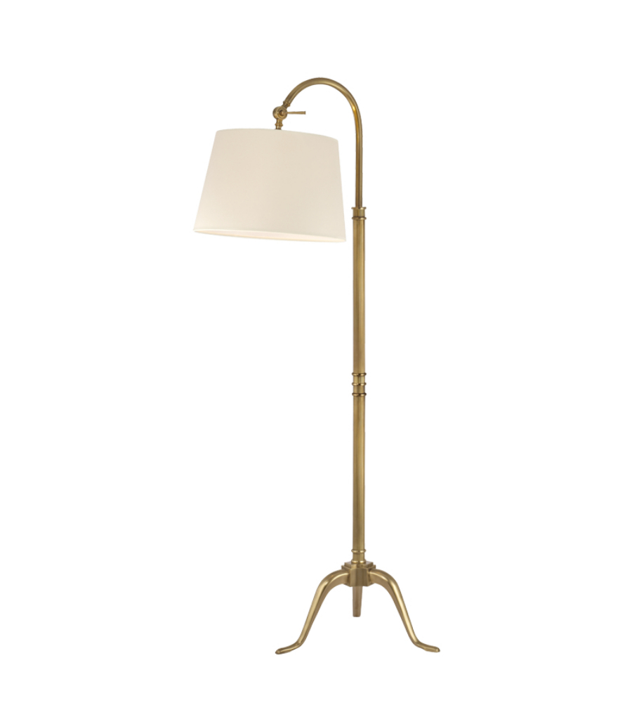 Hudson valley l605 vb burton 1 light arc floor lamp in for Tuscany floor lamp antique brass