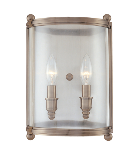 Hudson Valley 1302-An Mansfield 2 Light Wall Sconce In Antique Nickel