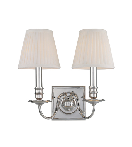 Hudson Valley 202-Pn Sheldrake 2 Light Wall Sconce In Polished Nickel