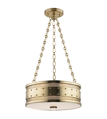 Hudson Valley 2216-AGB Gaines 3 Light Pendant in Aged Brass