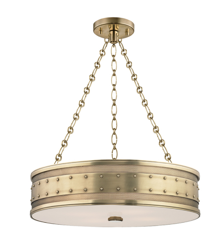 Hudson Valley 2222-AGB Gaines 4 Light Pendant in Aged Brass