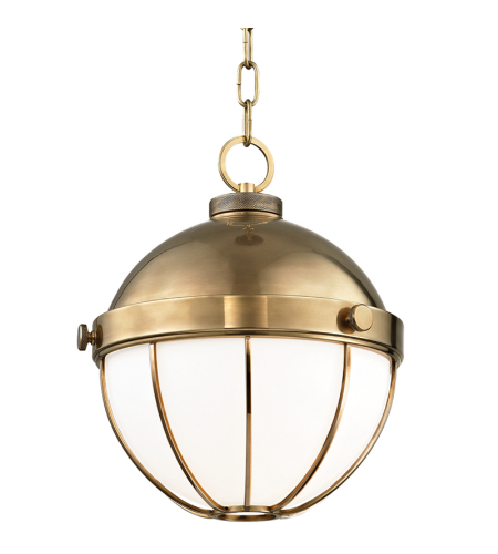 Hudson Valley 2312-Agb Sumner 1 Light Pendant In Aged Brass