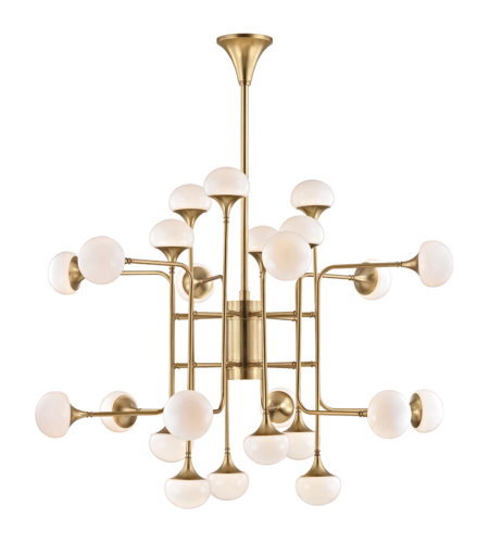 Hudson Valley 4724-Agb Fleming 24 Light Chandelier In Aged Brass