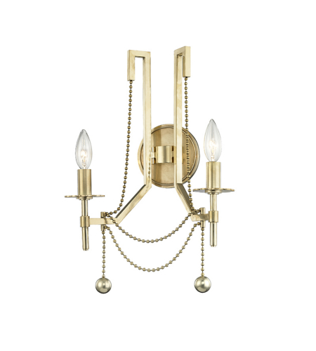 Hudson Valley Lighting 5220-AGB Zariah 2 Light Wall Sconce in Aged Brass
