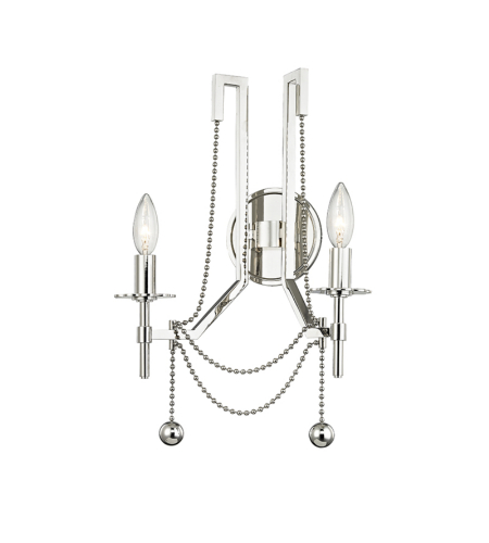 Hudson Valley Lighting 5220-PN Zariah 2 Light Wall Sconce in Polished Nickel