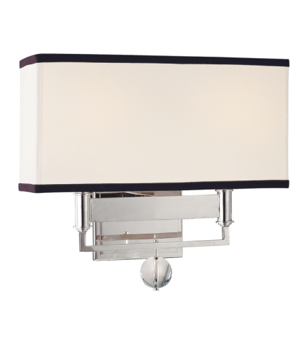 Hudson Valley 5642-PN Gresham Park 2 Light Wall Sconce With Black Trim On Shade in Polished Nickel