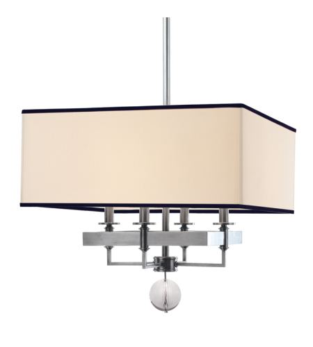 Hudson Valley 5645-PN Gresham Park 4 Light Chandelier With Black Trim On Shade in Polished Nickel