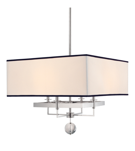 Hudson Valley 5646-PN Gresham Park 4 Light Chandelier With Black Trim On Shade in Polished Nickel