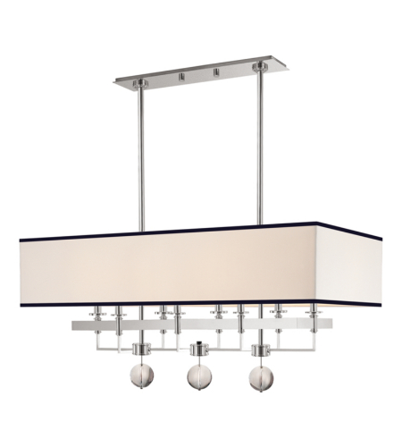 Hudson Valley 5648-PN Gresham Park 8 Light Island With Black Trim On Shade in Polished Nickel