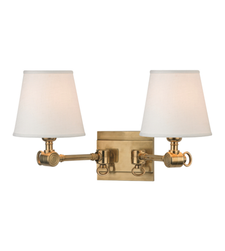 Hudson Valley 6232-AGB Hillsdale 2 Light Wall Sconce in Aged Brass