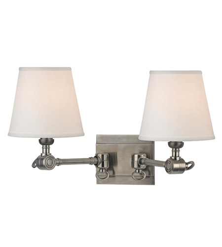 Hudson Valley 6232-HN Hillsdale 2 Light Wall Sconce in Historic Nickel