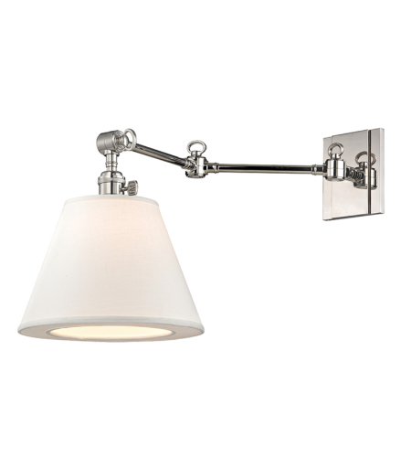 Hudson Valley 6233-Pn Hillsdale 1 Light Swing Arm Wall Sconc In Polished Nickel