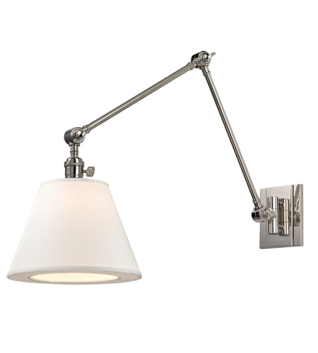 Hudson Valley 6234-Pn Hillsdale 1 Light Swing Arm Wall Sconc In Polished Nickel