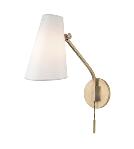 Hudson Valley 6341-AGB Patten 1 Light Swing Arm Wall Sconc in Aged Brass