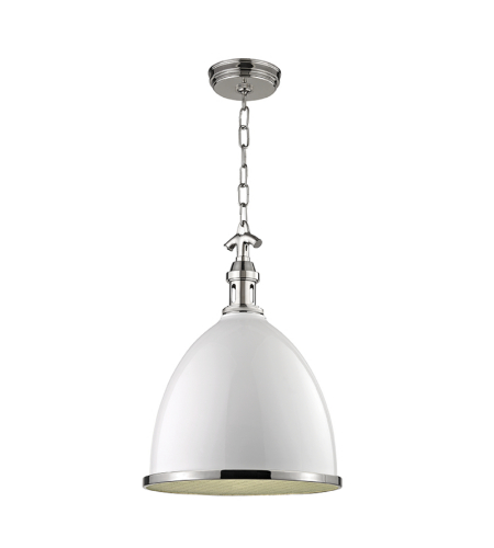 Hudson Valley 7714-Wpn Viceroy 1 Light Small Pendant In White/Polish Nickel Combo