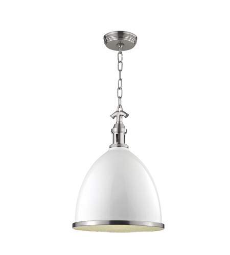 Hudson Valley 7714-Wsn Viceroy 1 Light Small Pendant In White/Satin Nickel Combo