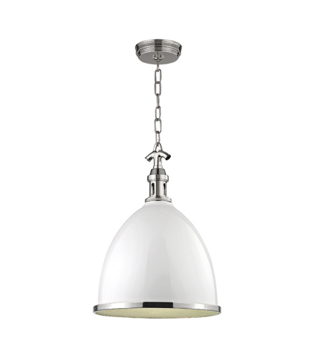 Hudson Valley 7718-Wpn Viceroy 1 Light Large Pendant In White/Polish Nickel Combo