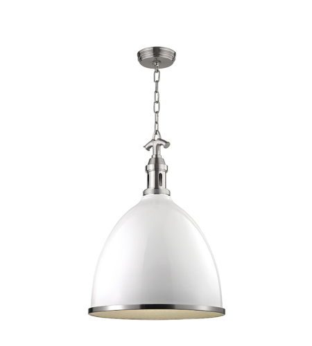 Hudson Valley 7718-Wsn Viceroy 1 Light Large Pendant In White/Satin Nickel Combo