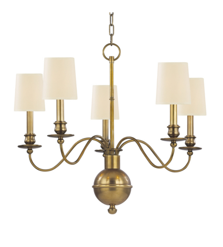 Hudson Valley 8215-AGB Cohasset 5 Light Chandelier in Aged Brass