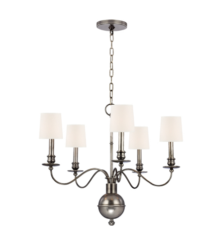 Hudson Valley Lighting 8215-AS-WS Cohasset 5 Light Chandelier in Aged Silver