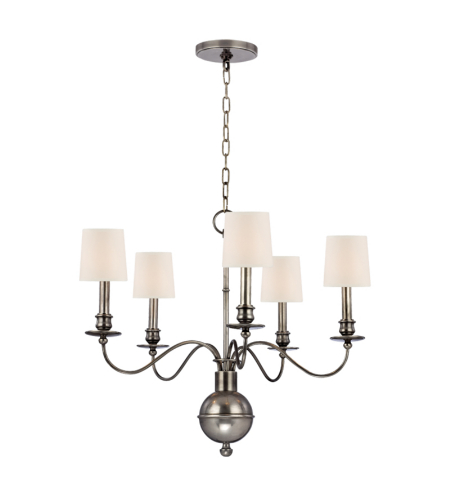 Hudson Valley Lighting 8215-AS Cohasset 5 Light Chandelier in Aged Silver