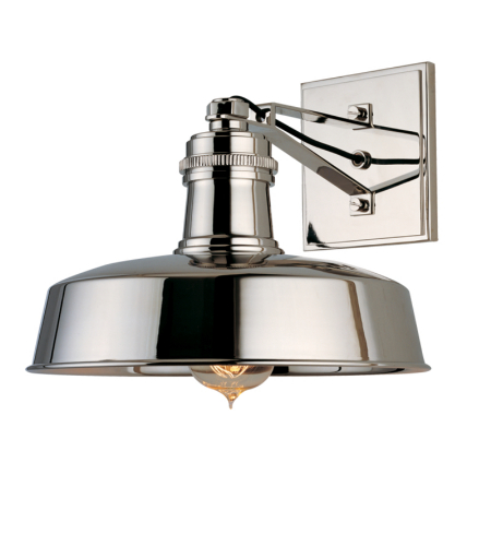 Hudson Valley 8601-Pn Hudson Falls 1 Light Wall Sconce In Polished Nickel