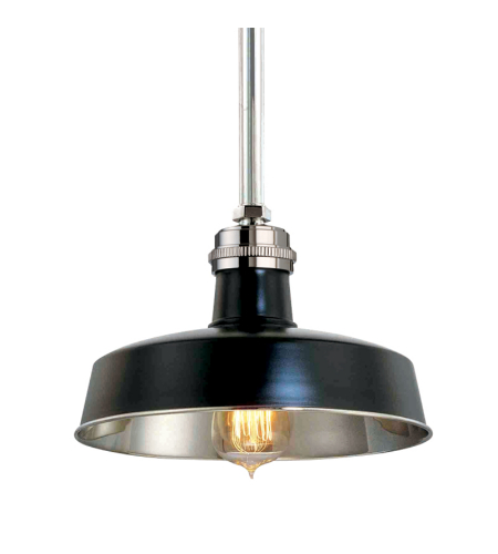 Hudson Valley 8610-Bpn Hudson Falls 1 Light Pendant In Black/Polished Nickel