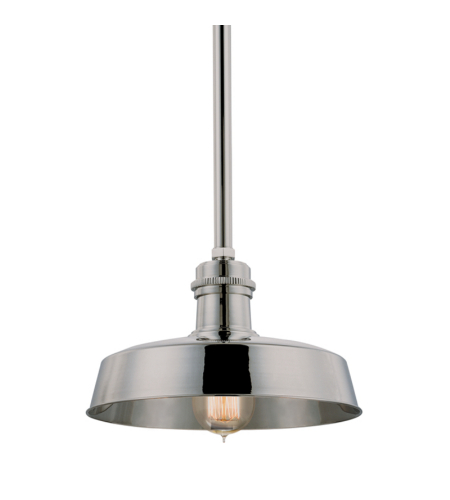 Hudson Valley 8610-Pn Hudson Falls 1 Light Pendant In Polished Nickel