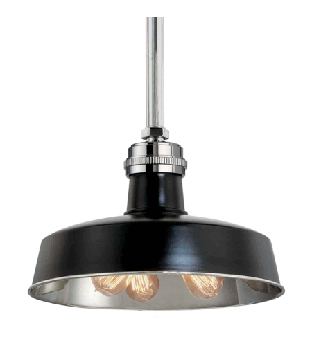 Hudson Valley 8618-Bpn Hudson Falls 3 Light Pendant In Black/Polished Nickel