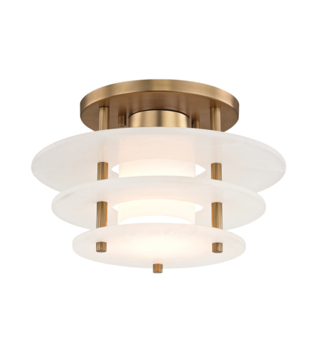 Hudson Valley Lighting 9012F-AGB Gatsby Led Flush Mount in Aged Brass