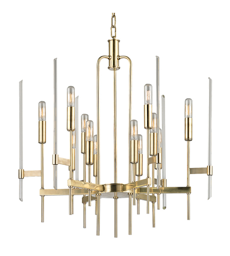 Hudson Valley 9912-AGB Bari 12 Light Chandelier in Aged Brass