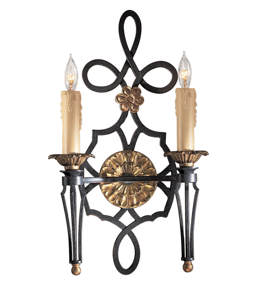 Metropolitan N2100-20 French Black W/ Gold Leaf Highlights 2 Light Wall Sconce | FoundryLighting.com  sc 1 st  Foundry Lighting : 2 light wall sconces - www.canuckmediamonitor.org