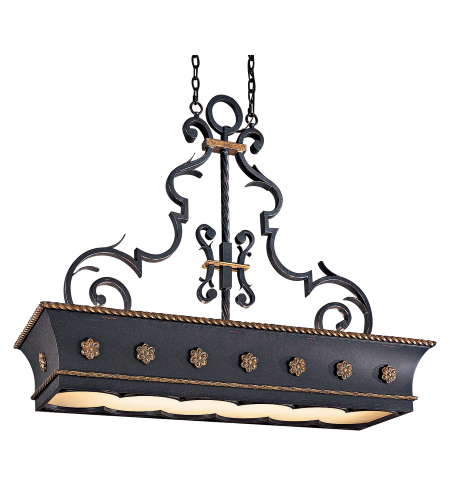 Metropolitan N6107-20 Montparnasse 12 Light Island Light in French Black w/Gold Highlights