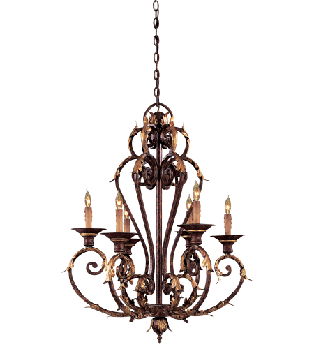Metropolitan N6235-355 Zaragoza 6 Light Chandelier in Golden Bronze