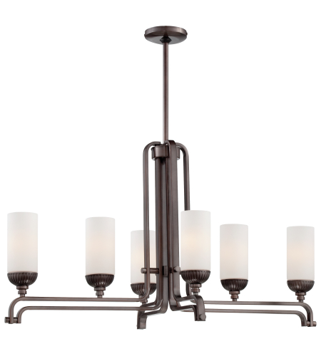 Metropolitan N6626-590 Industrial Island Lights 6 Light Island Light in Bronze