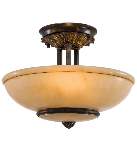 Metropolitan N880204 Signature 3 Light Semi Flush in Antique Oxidized Bronze