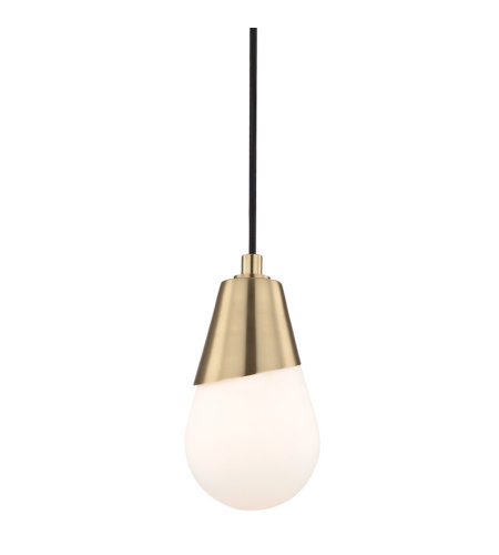 Mitzi by Hudson Valley Lighting H101701-AGB Cora 1 Light Pendant in Aged Brass
