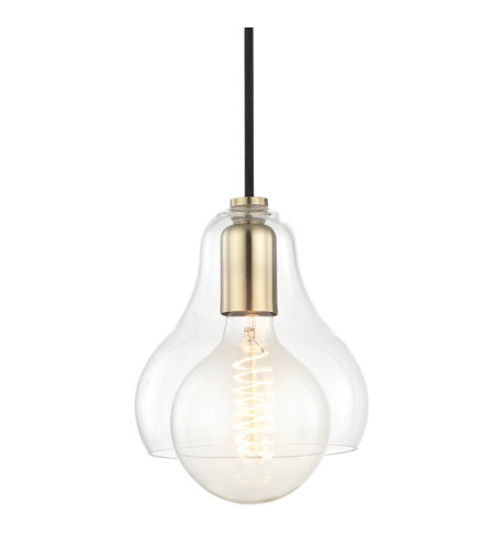 Mitzi by Hudson Valley Lighting H104701L-AGB Sadie 1 Light Pendant in Aged Brass