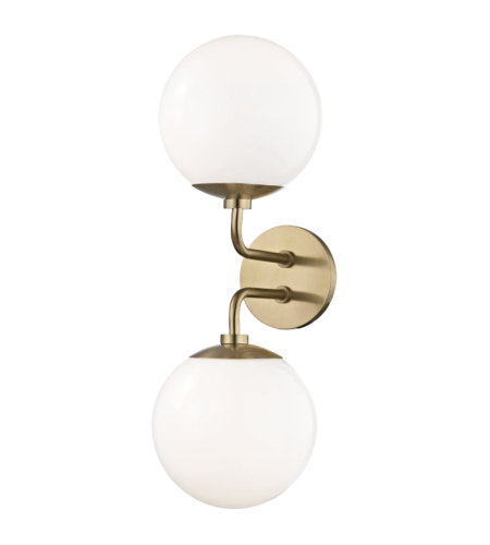 Mitzi® By Hudson Valley H105102-Agb Stella 2 Light Wall Sconce In Aged Brass