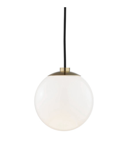 Mitzi by Hudson Valley Lighting H105701-AGB Stella 1 Light Pendant in Aged Brass